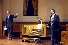 Albert Long Hall 12 Kasım'da trompet ve orgun söyleşisini içeren 'Meleklerin Trompeti' gecesinde İngiliz sanatçılar Howard Rowntree ve Terence Charlston'u ağırladı. Fotoğraflar: KENAN ÖZCAN