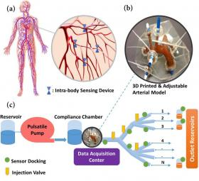 Yapay Dolaşım Sistemi Test Düzeneği. (a) Vücut içi algılama cihazları ile Dolaşım Sisteminin şematik gösterimi (b) Yapay Dolaşım Sistemi için 3D baskı ile üretilecek olan pulmoner arter bileşeni (c) Yapay Dolaşım Sistemi test ortamının şematik gösterimi