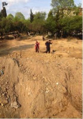Şekil 3. İBB Rumelihisarı Şehitlik Mezarlığı Restorasyon ihalesinde bulunmayan bölgede başlatılan çalışma.