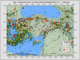 KRDAE'nin 121 yılı kapsayan deprem haritasi